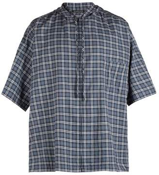 Balenciaga Hooded Short Sleeved Plaid Cotton Shirt - Mens - Blue