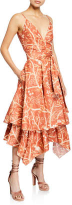 Johanna Ortiz Strappy Woven-Waist Parrot-Print Handkerchief Midi Dress