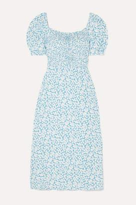 Faithfull The Brand Majorelle Shirred Floral-print Crepe De Chine Midi Dress - Light blue