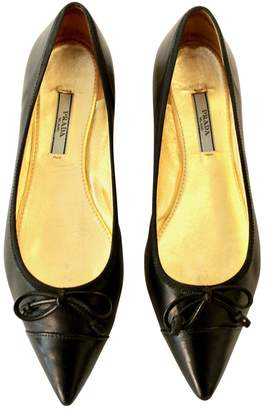 Prada Black Leather Ballet flats
