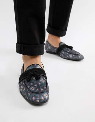 Asos Design DESIGN loafers in geo print with tassel