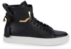 Buscemi Lace-Up Leather High-Top Sneakers