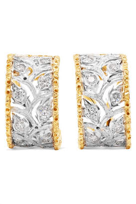 Ramage 18-karat White And Yellow Gold Diamond Hoop Earrings - White gold