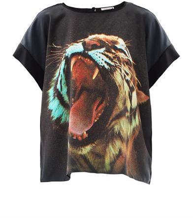 Emma Cook Roaring tiger-print silk top