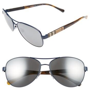 Women's Burberry 59Mm Mirrored Aviator Sunglasses - Matte Blue