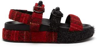 Simone Rocha Crystal and faux pearl-embellished tartan sandals