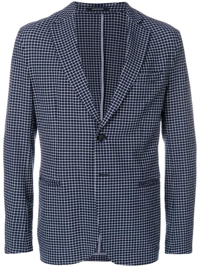 micro-check unstructured blazer