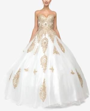Dancing Queen Juniors' Rhinestone Applique Gown