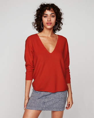 Express Cotton Shaker Knit V-Neck Sweater