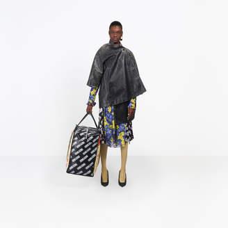 Balenciaga Short washed effect leather coat with graffic logo branded at back