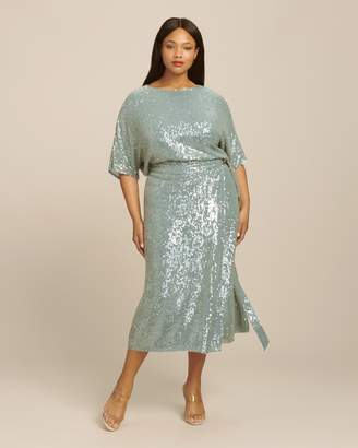 1ef5b0926cad39 Sally LaPointe Sequin Viscose Belted Wrap Skirt