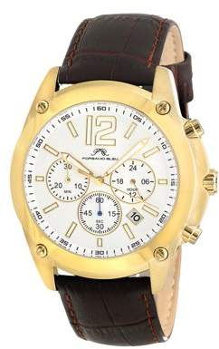 Porsamo Bleu Nathan men's leather band dress watch, gold tone and brown 641BNAL