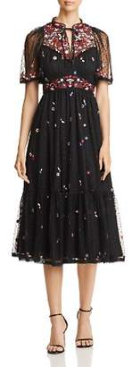 Kate Spade Camelia Embroidered Dot-Print Dress
