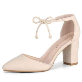 387a7bffe19 Allegra K Women s Ankle Tie Chunky Heel Pointed Toe Dress Pumps