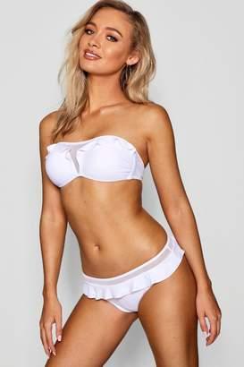 boohoo Mesh Ruffle Cup Self Tie Bandeau Bikini Set