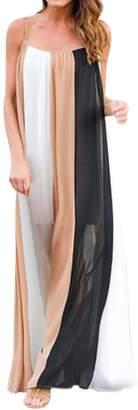 Woya Summer Bohemian Dress Casual Women's Sleeveless Contrast Color Loose Dresses