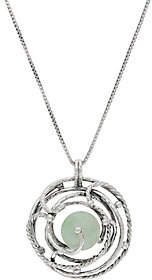 Or Paz Sterling Green Jade Pendant w/ Chain