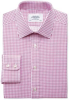 Charles Tyrwhitt Extra Slim Fit Twill Grid Check Fuchsia Cotton Dress Shirt Single Cuff Size 15.5/33