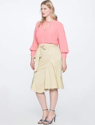 Asymmetrical Ruffle Skirt with Tie
