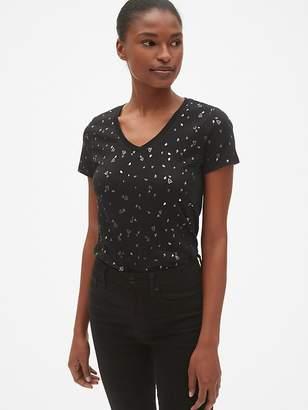 Gap Favorite Metallic Graphic V-Neck T-Shirt