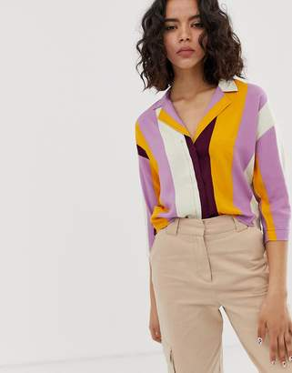 NATIVE YOUTH revere collar shirt in bold stripe