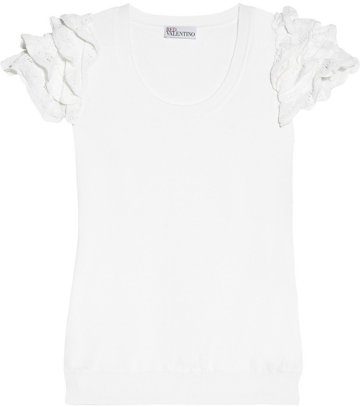 RED Valentino Ruffled cotton-jersey top