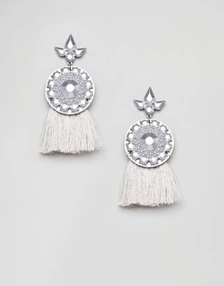 Missguided gray tassel earring