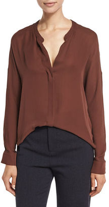 Vince Silk Georgette Split-Neck Blouse $295 thestylecure.com