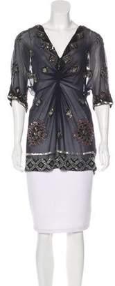 AllSaints Embellished Silk Top