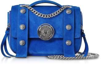 Balmain Electric Blue Leather Suede Effect BSoft 20 Flap Satchel Bag