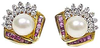 Rubie's Costume Co 14K Yellow Gold Diamond And With Pearl Earring
