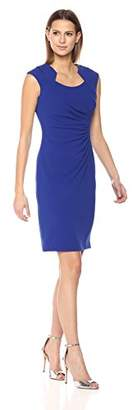Calvin Klein Women's Cap Sleeved Sheath with Horseshoe Neckline Dress