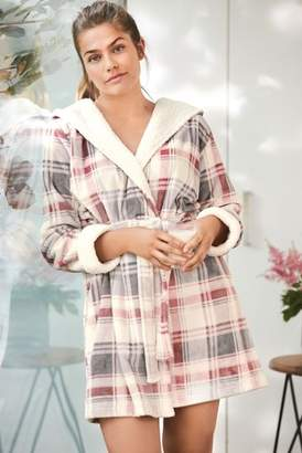 Next Womens Pink Check Sheepy Robe