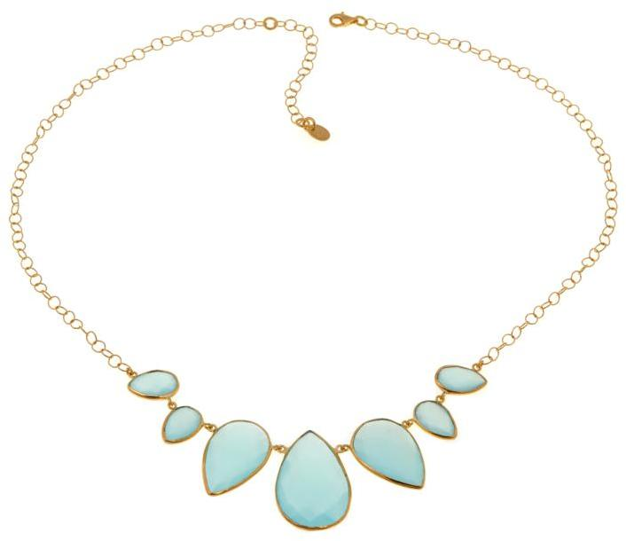 """ArgentovivoArgento Vivo Pear-Shaped Aqua Chalcedony Gold-Plated Sterling Silver 18"""" Necklace"""