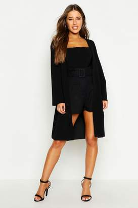 boohoo Petite Collarless Wrap Duster Jacket