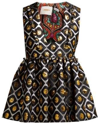 La doublej La Doublej - Casati Pomodorini Oro Brocade Peplum Top - Womens - Black Gold