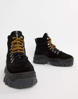 Bronx black suede chunky hightop sneakers
