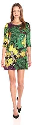 Tracy Reese Women's Floral Jacquard 3/4 Sleeve Mini Dress