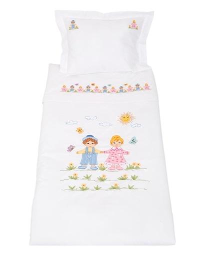 Embroidered Cotton Muslin Crib Sheet Set