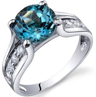 Oravo 2.25 Carat T.G.W. London Blue Topaz Rhodium-Plated Sterling Silver Engagement Ring