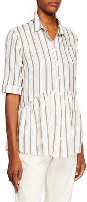 Brunello Cucinelli Striped Silk Babydoll Blouse