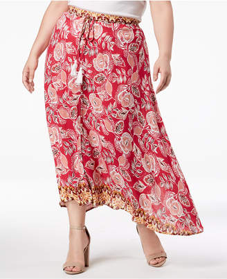 John Paul Richard Plus Size Printed Button-Front Maxi Skirt