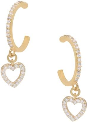 Ettika Small Heart Dangle Hoop Earrings