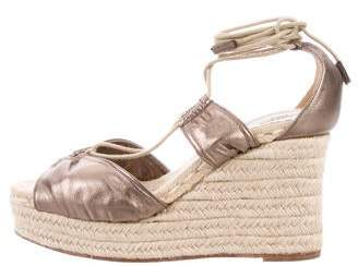 Hermes Metallic Espadrille Wedges