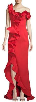 Jovani One-Shoulder Long Ruffle Gown