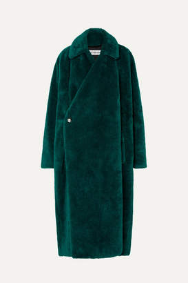 Balenciaga Oversized Faux Fur Coat - Dark green