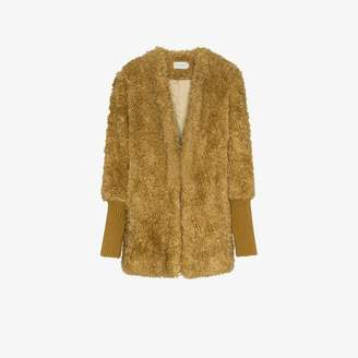 6c8aecc7fc2 Low Classic single-breasted ribbed cuff faux fur coat