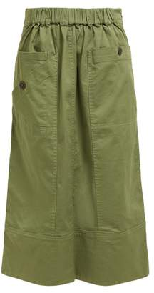 Sea Patch Pocket Cotton Blend Midi Skirt - Womens - Khaki