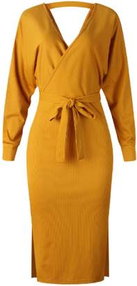 Goodnight Macaroon 'Mag' Slit Hem Knitted Wrap Dress (5 Colors)