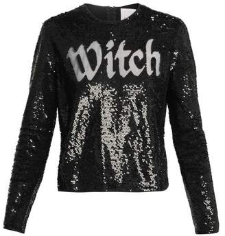 Ashish Round Neck Sequin Embellished Top - Womens - Black